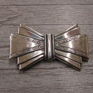 vintage 925 sterling silver bow brooch pin